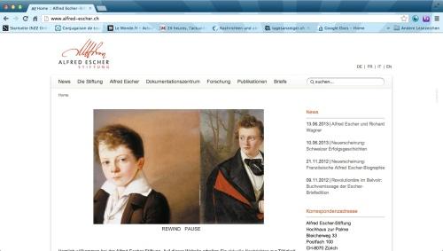 Webseite der Alfred Escher-Stiftung
