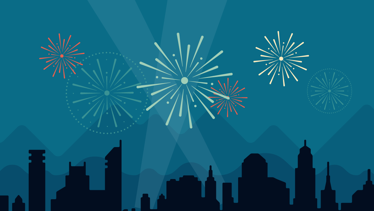 Feuerwerk über Stadt Silvester 2013