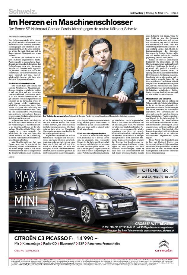 Basler Zeitung: «Im Herzen ein Maschinenschlosser»