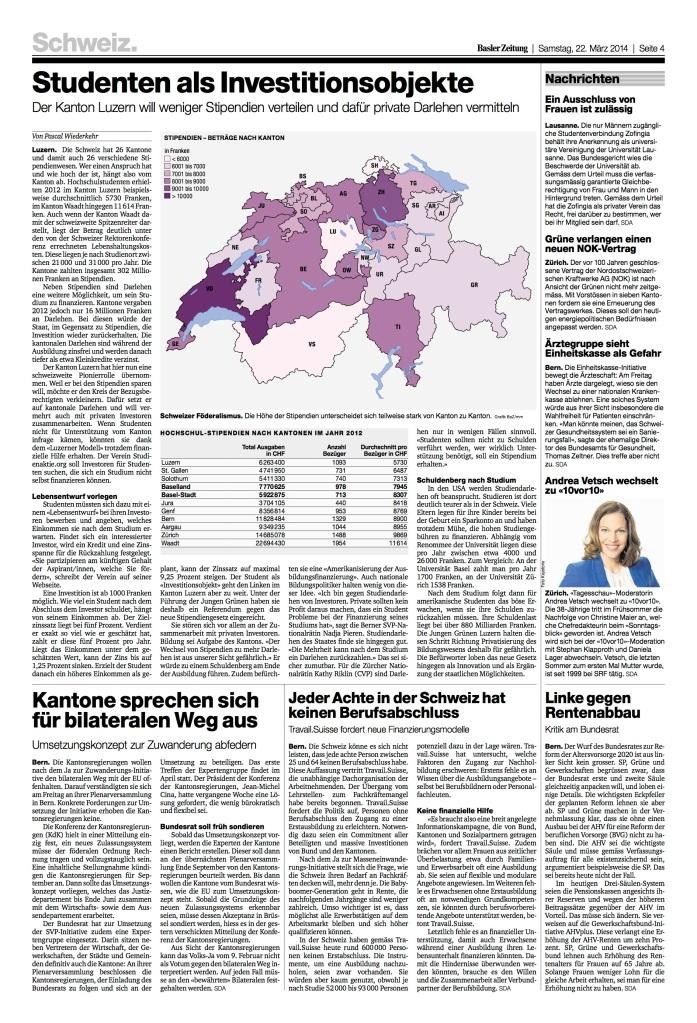 Basler Zeitung: «Studenten als Investitionsobjekte»