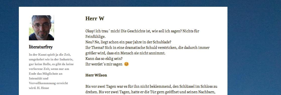 Screenshot Artikel «Herr W» literaturfrey.com