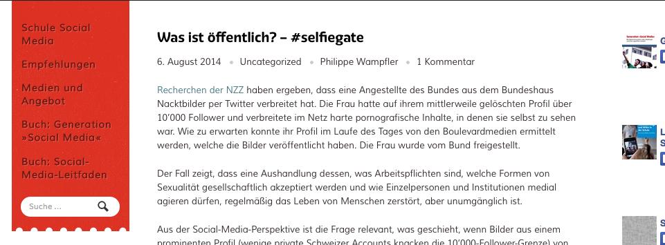 Screenshot vom 7. August 2014 der Webseite http://schulesocialmedia.com/2014/08/06/was-ist-offentlich-selfiegate/