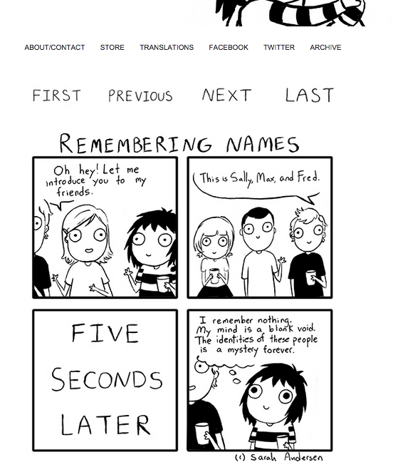 Screenshot sarahcandersen.com / Comic Strip «Remembering Names»