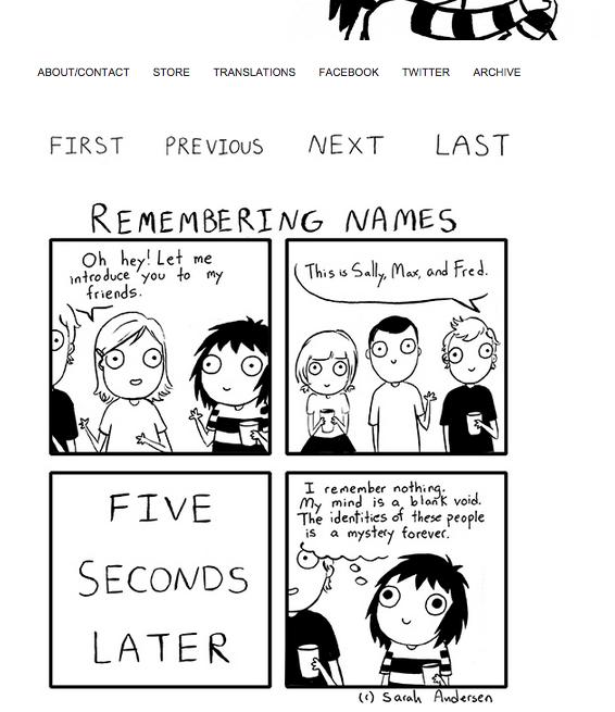 Screenshot sarahcandersen.com / Comic Strip «Remembering Names»