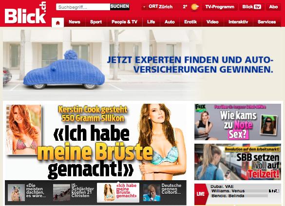 """Blick.ch Artikel """"«Ich habe meine Brüste gemacht»""""."""