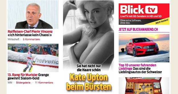 """Blick.ch Artikel """"Kate Upton beim Bürsten""""."""