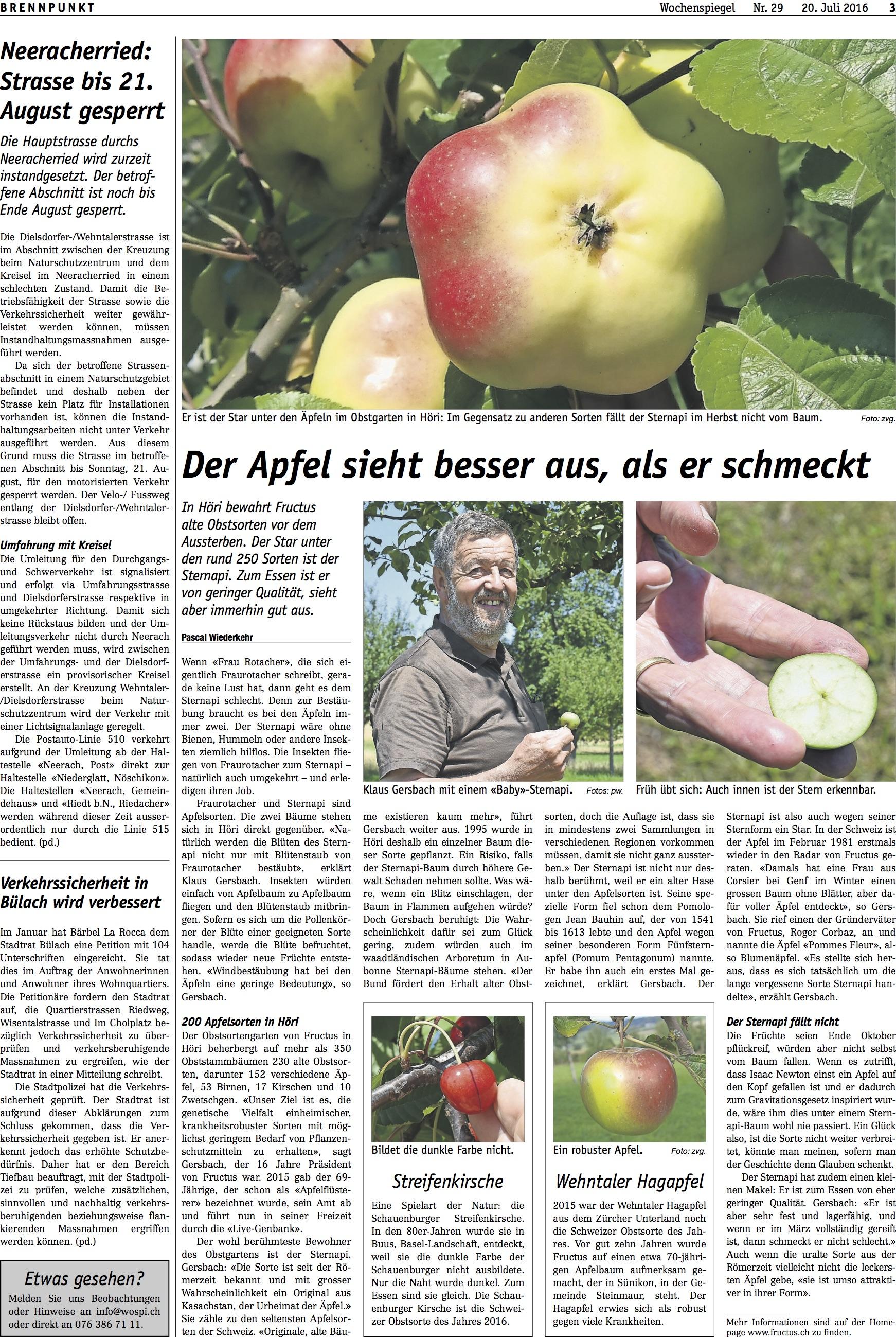 Wochenspiegel: «Der Apfel sieht besser aus, als er schmeckt»