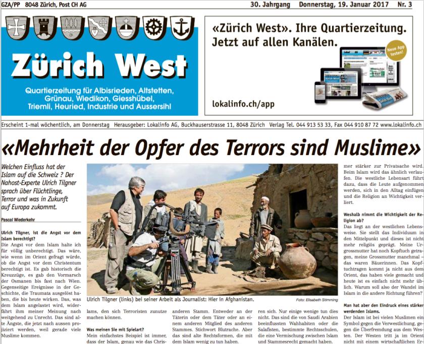 Ausschnitt Artikel «Zürich West»: «‹Mehrheit der Opfer des Terrors sind Muslime›»