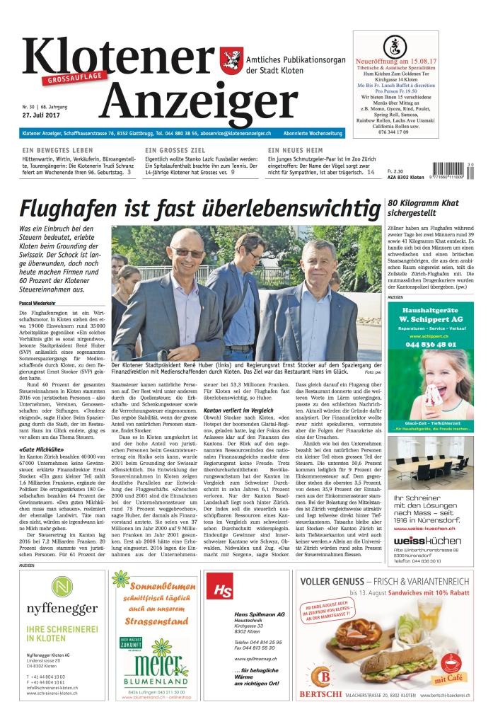 Klotener Anzeiger: «Flughafen ist fast überlebenswichtig»