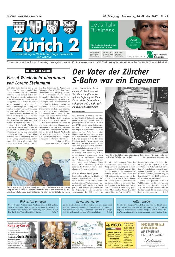 Zürich 2 Front, Ausgabe 43, Donnerstag 26.10.17