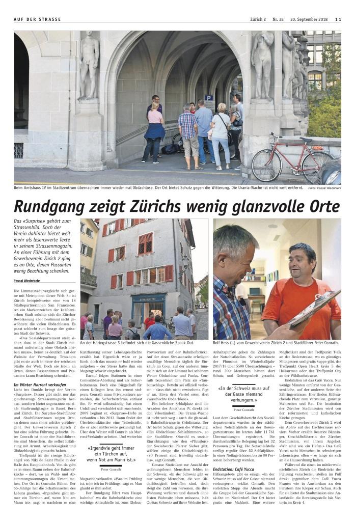Zürich 2: «Rundgang zeigt Zürichs wenig glanzvolle Orte»