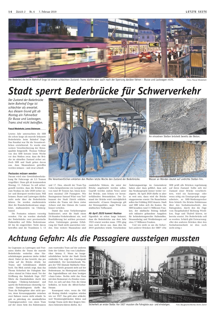 Zürich 2: «Stadt sperrt Bederbrücke für Schwerverkehr»