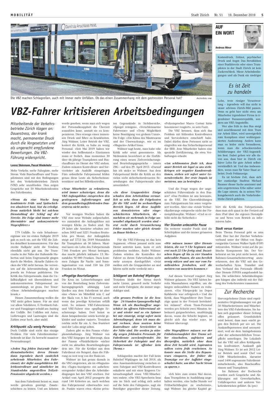 Zürich 2: «VBZ-Fahrer kritisieren Arbeitsbedingungen»