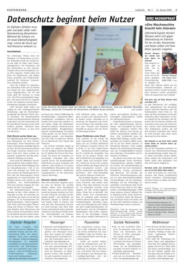 Lokalinfo: «Datenschutz beginnt beim Nutzer»