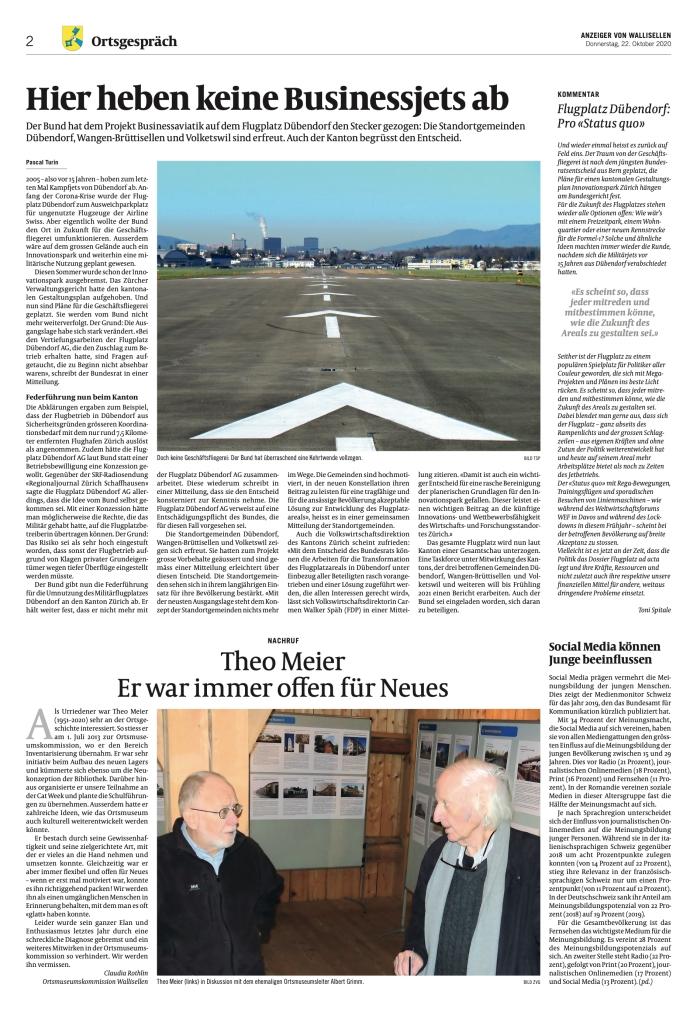 Anzeiger von Wallisellen: «Hier heben keine Businessjets ab»